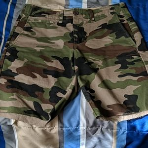 Camo flat front shorts